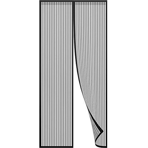 Mosquitera puerta magnetica - Puerta mosquitera Mosquitera con imanes y marco completo Velcro Mantenga alejado de los mosquitos, la cortina de malla se adapta a la puerta (Negro)