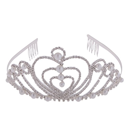 Kostüme Vier Mädchen (MagiDeal Mädchen Blume Perlen Stirnband Kopfstück Haarschmuck Kostüm - Silber Weiss)