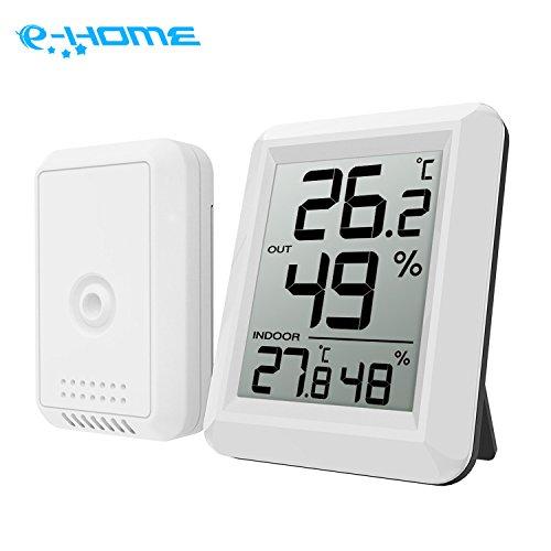 E-HOME Digitales funk Thermo Hygrometer Klima Monitor mit  Außensensor für Innen  Außen Luftfeuchtigkeit