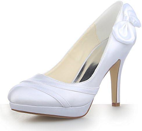 JIA JIA Zapatos de Novia de Las Mujeres 37084 Punta Cerrada estilete Tacón Satín Plataforma Zapatillas Bowknot...