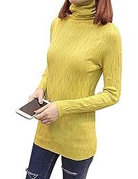 Maglione Dolcevita Eleganti Maglioni Donna Maglia Collo Alto A Manica Lunga  vestibilità Slim Pullover e38e09ac925