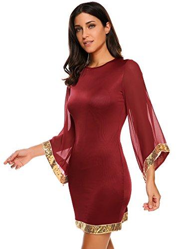 Meaneor Damen Abendkleider Partykleid mit Pailletten an Ärmeln und Saum Rundhalsausschnitt slim fit Ballkleid Weinrot