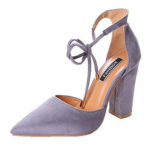Minetom donna estate scarpe col tacco stiletto elegante cinturino caviglia tacco alto pompe partito sandali con lacci grigio eu 38