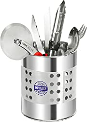 Mintage Stainless Steel Cuttlery Holder, 11X11X13 cm, Steel Silver