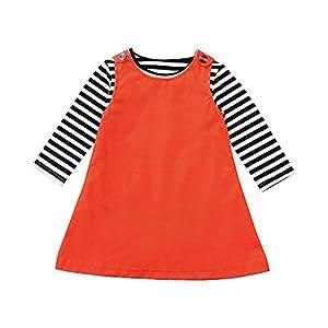 Proumy ◕ˇ∀ˇ◕Baby Mädchen Langarm Streifen Tops T-Shirt Strampler Newborn Kleid 2 Teile/Satz Kleinkind Kleidung Set