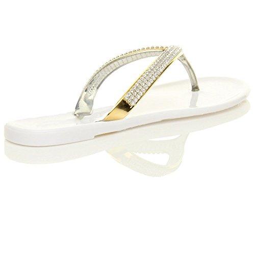 Damen Flach Goldbänder Strass Gummi Flipflops Sandalen Zehentrenner Größe Weiß