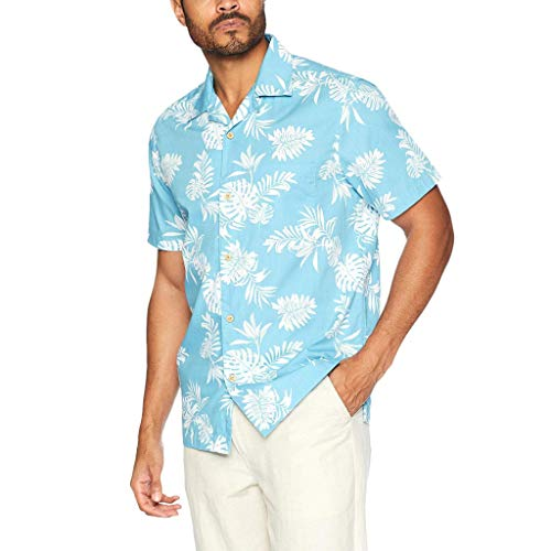 EUZeo Männer Casual Sommer Gedruckt Taste Kurzarm Hawaiian T-Shirt Top Herren kurzärmelig Sommershirts Tee Shirts Pullover Cardigan Strickjacke -