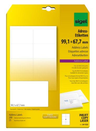 Sigel LA322 abgerundete Adress-Etiketten weiß, 99,1 x 67,7 mm, 200 Etiketten = 25 Blatt