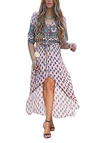 Yidarton Robe Femme Bohème Impression Manche 1/2 Col V Chic Été Floral Robe Maxi Robe de Cocktail Soirée Ceremonie Plage (Rose, Medium)