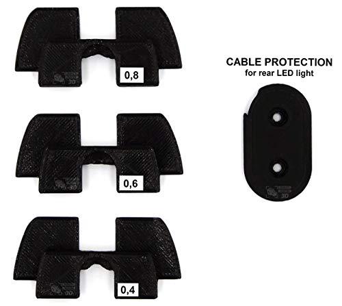 Q P Quality Printing 3D Gummi Vibrationsdämpfer-Set mit Kabelschutz LED für Xiaomi M365 / Pro Elektro Scooter, Beste e dampfer für Elektro Roller, Dampfer Zubehör für xiaomi e Scooter (Schwarz)