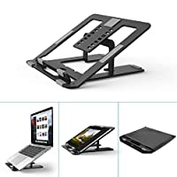 Foldable Laptop Stand Holder,Klearlook 7-Adjustable Height Portable Ventilated Desktop Laptop Riser with Carry Bag,Ergonomic Aluminum Tray Mount for iM