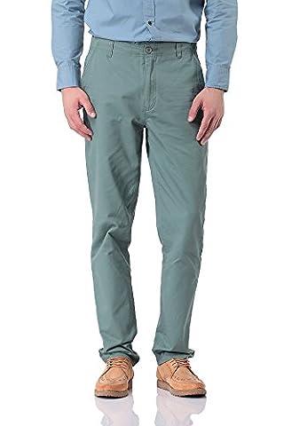 Pau1Hami1ton PH-15 Mens Fashion Flat Front Casual trouser Straight Pants (32, Green)