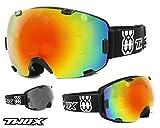 TWO-X AIR Skibrille schwarz verspiegelt iridium Spiegelglas Rahmenlos 100% UV Schutz Antifog getönt Snowboardbrille mit Doppelglas