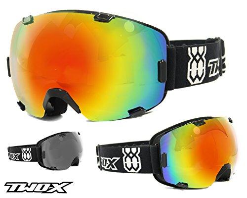 TWO-X AIR Skibrille schwarz verspiegelt iridium - Spiegelglas Rahmenlos 100% UV Schutz Antifog getönt Snowboardbrille mit Doppelglas
