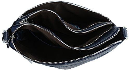 Yaluxe Damen Tasche lässiger Stil dreifacher Reißverschluss echtes Leder Cross Body Schultertasche Handtasche dunkelblau