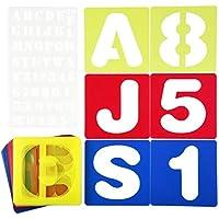 Cizen 37 Piezas Plantilla de Letras y Números, Alfabeto Plantillas de Juego Adecuado para el Aprendizaje, Pintura, Scrapbooking y Manualidades DIY, Incluye 26 letras Mayúsculas y Números 0-9
