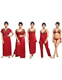 Tucute Women's Satin Nightwear Set of 6 Pcs Nighty, Wrap Gown, Top, Pyjama, Bra & Thong