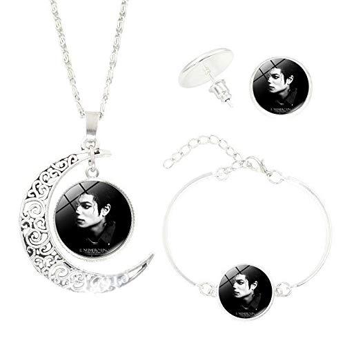 upnanren Halskette Armband Ohrstecker Schmuck Dreiteiliges Zubehör Michael Jackson Time Gem Damen Alloy Fashion