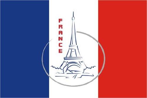 Aufkleber Fahne von Frankreich mit Paris Eiffelturm Flaggen Sticker Autoaufkleber