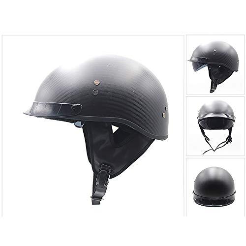 QXFJ Open Face Helm Jethelm Helm Motorradhelm Kohlefaser + EPS Eingebaute Sonnenbrille GehöRschutz Design Abnehmbare Kappe Hautfreundliches, Weiches Futter Tragbarer Helm Unisex 56-60CM