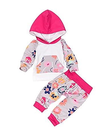Weant extérieur Infant bébé 2pcs Toddler citrouille T-shirt TOPS + Pantalons tenues Set–Rose