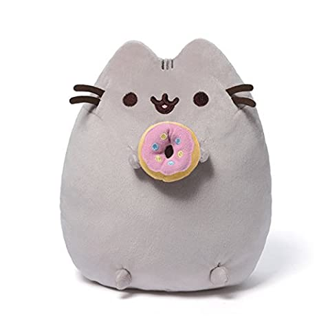 9.5 Light Gray Pusheen the Cat with Donut Silky and Soft Plush Stuffed Animal Toy