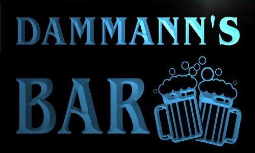 w019712-b DAMMANN'S Nom Accueil Bar Pub Beer Mugs Cheers Neon Sign Biere Enseigne Lumineuse