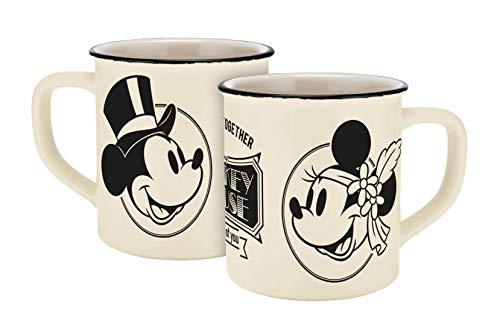 Disney Mickey Mouse 13755 Disney Mickey & Minnie Vintage Forever Together Emaille-Optik Tasse, Porzellantasse, Kaffeetasse, Keramik, Beige