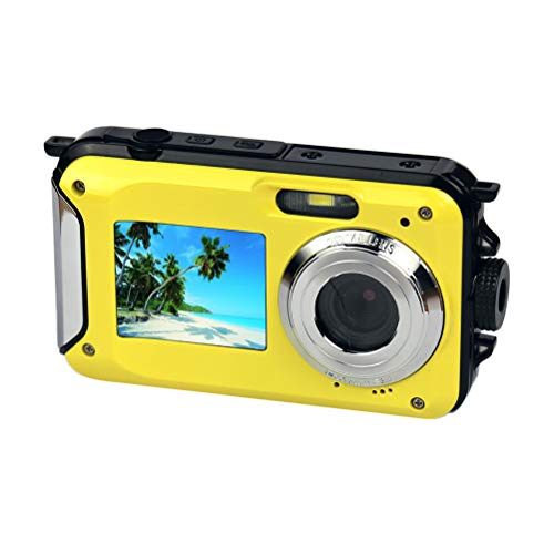 LEDMOMO Amkov W59 Mini Digitalkamera DVR 24MP 1080P Full HD Wasserdicht Dual Screen 2,7 Zoll TFT Display 16x Digital Zoom Anti Shake Video Camcorder Recorder (Gelb)
