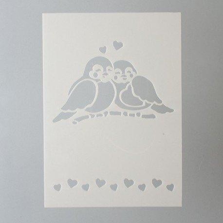 bastelkoerble Stencils Schablone Bordüre Vögel und Herz , Kunststoff, format A5