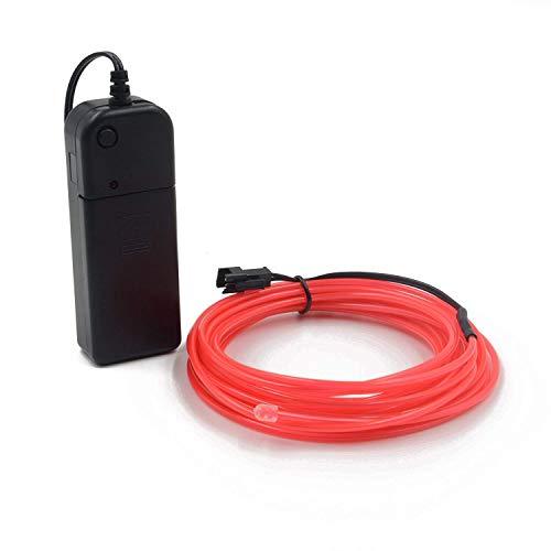 Cables EL Cables de neón con luz de neón Batería de alto brillo Electroluminiscencia Controladores con 3 modos Multi colores Cable EL para el Pub de decoración de la fiesta de Navidad 5m(rosado)