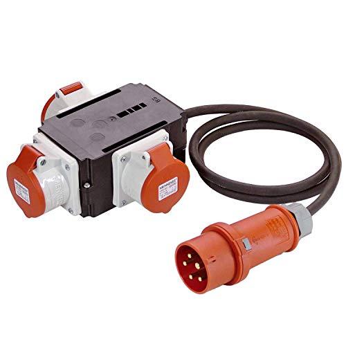 as - Schwabe MIXO Adapter / Stromverteiler NECKAR –  CEE-Stecker mit 1,5 m Gummischlauchleitung auf 3 CEE-Steckdosen – Robuster Baustellen Starkstrom-Verteiler – IP44 – Made in Germany I 60526
