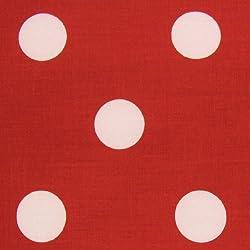 Nortex Mill - Tela roja de polialgodón con grandes lunares blancos (por metro)