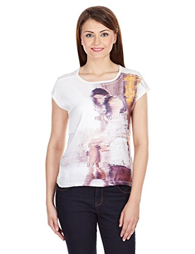 Pepe Jeans Women's Printed T-Shirt (ALBA SS_Ecru_off-white_Large)