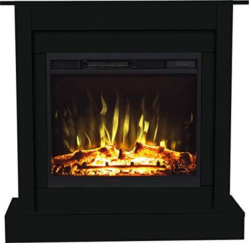 Chimenea eléctrica Negro LED, AFLAMO Calefacción (900W / 1800W) Termostato, Control remoto