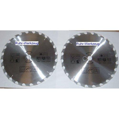 Spar-Set: 2 Stück Kreissägeblatt Kreissägeblätter 400 mm, 24 Zähne Hartmetall bestückt nachschärfbar. Bohrung 30 mm inkl. Reduzierring auf 16, 20, 22,3 und 25 mm. Universal Sägeblatt für Handkreissäge, Kappsäge, Tischkreissäge.