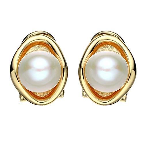 Jewever 925 Sterling Silber vergoldet Lotus Blatt Ohrstecker Perle Ohrringe für Frauen Schmuck Geschenk (Dutzend Perlen Im)