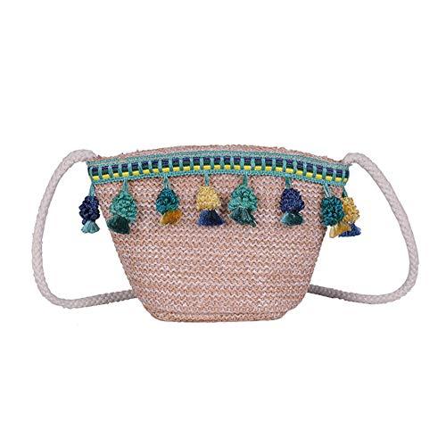 CLCYL Sommer Fairy Bag 2019 New Seaside Holiday Stroh Tasche Persönlichkeit Quaste Bucket Bag Schulter Messenger Bag,Green - Green Holiday Kleid