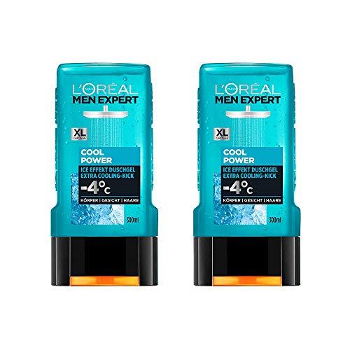 L'Oréal Men Expert Cool Power Duschgel, kühlende Menthol-Wirkung regeneriert die Haut (Gesicht, Körper und Haare) sanft ohne auszutrocknen (2 x 300 ml)