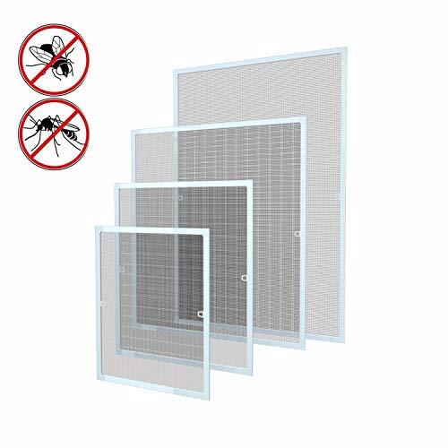 100 x 120 cm Fliegengitter Fliegenschutz Insektenschutz Fliegenschutzgitter mückengitter gitter moskitonetz Spannrahmen für Fenster mit Aluminium Rahmen ohne Bohren und Schrauben, Weiß