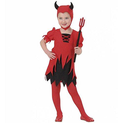 Lil Teufel Kostüm - Widmann-WDM2010D Kostüm für Mädchen, Rot Schwarz, WDM2010D