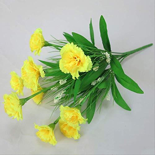 Qyydgh retrò elegante bella 10 teste di seta fiori artificiali garofani gypsophila fiori finti festa della mamma regali per l'insegnante regali economici decorazione domestica giallo