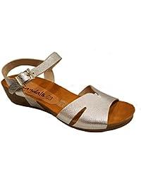 Oh my Sandals - Sandalia anatómica de piel con cuña trasera - 3639 - Plata