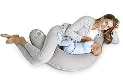 Idea Regalo - Sei Design - Cuscino per allattamento, 170 x 30 cm Imbottitura: palline di fibra 3D prive di sostanze nocive certificate Ökotex. Fodera con cerniera e ricamo di alta qualità. Ideale in viaggio Taup