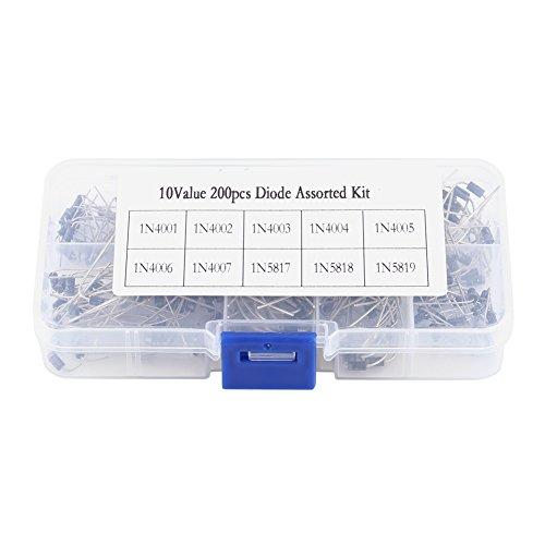 200pcs Diode de Redresseur avec Boîte de Rangement 10 Modèles 1N4001-1N4007, 1N5817-1N5819