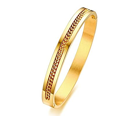 Vnox Acier inoxydable Chain Center Inlay Two Tone Groove Bangle Bracelet pour hommes Femmes Or