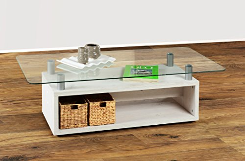 Couchtisch in Weiß Antik Vintage Shabby Chic, mit Glasplatte Möbeldesign Team 2000 GmbH 1176 -