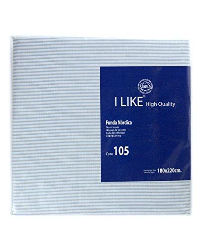 I LIKE® Funda NÓRDICA Rayas Azul 100% ALGODÓN Cama 105 (180 x 220 cm)