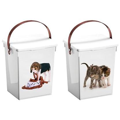 Excellent Houseware Kitten Design 5L Plastic Pet Dog Cat Fish Dry Food Storage Container Box 1