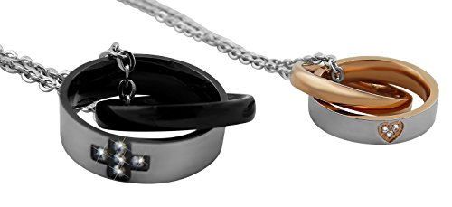Hanessa Gravierte Partner Ketten mit Wunsch Gravur auf der außenseite aus Titan-stahl schwarz und gold Schmuck für Paare Geschenk zu Weihnachten Ringe mit...